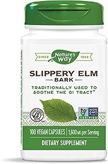 Nature's Way Slippery Elm Bark, 1,600 mg Per Serving, 100 Vegetarian Capsules, 2-Pack