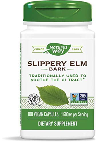 Nature's Way Slippery Elm Bark, 1,600 mg Per Serving, 100 Vegetarian Capsules, 2-Pack