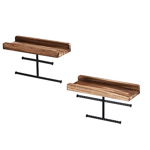 Haude 2PCS Hanging Wall Mounted Jewelry Organizer with Rustic Wood Jewelry Holder Display for Necklaces Bracelet Earrings