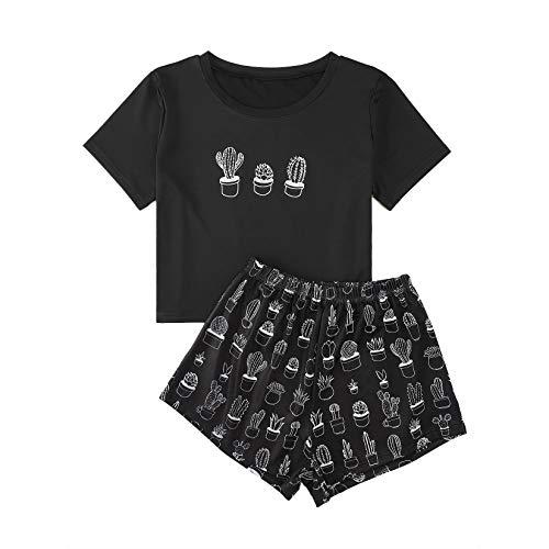 Schlafanzug Damen Kurz, Teenager Mädchen Süß Zweiteiliger Pyjama Kaktus Cactus Drucken Bauchfrei T-Shirts und Hose Set Sommer Crop Tops Shorts Anzug Hausanzug Set Kurzarm Nachtwäsche Sleepwear (01,S)