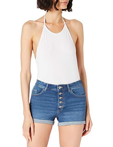Only ONLHUSH Life HW Button Shorts Noos Pantalones Cortos de Jean, Medio De Mezclilla Azul, M para Mujer