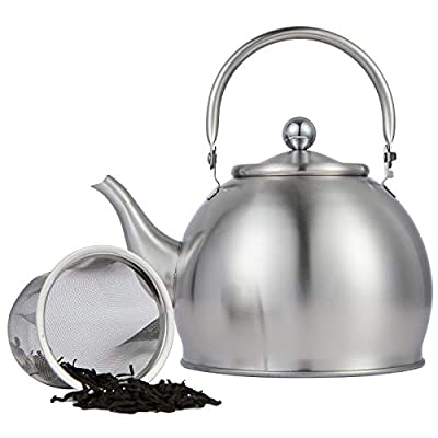 Teapot with Infuser Loose Tea Leaf Stainless Steel Tea Pot 1.6 Liter for Water,1.6 Quart Tea Kettle for Stovetop Induction Stove Top Teakettle Removable Filter Basket Set