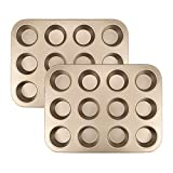 Tebery 2 Pack Cupcake/Muffin Baking Tin, Recipe Right, Non Stick, 12 Holes(Gold)