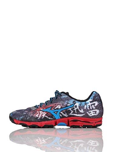 MIZUNO Wave Hayate Zapatilla de Trail Running Caballero, Azul/Rojo, 44