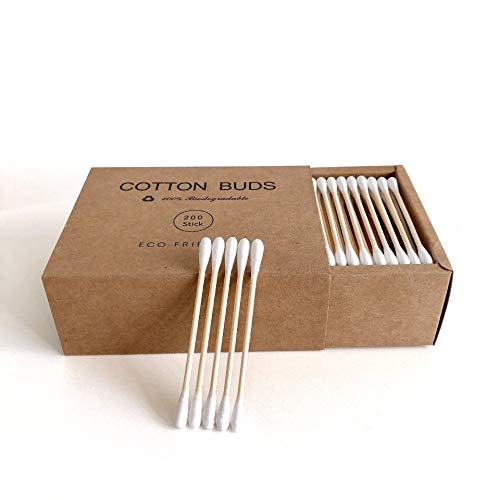 200 Two Tips Bamboo Cotton Swabs, Eco Friendly Cotton Swabs Organic Cotton Swabs, Natural Wooden Cotton Swabs Bamboo Cotton Sticks Ear Cleaning Buds, Recyclable Biodegradable Cotton Buds-Eco Packaging
