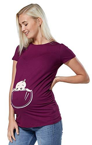 Happy Mama. Damen Baby in der Tasche T-Shirt Top Oberteil für Schwangere. 501p (Pflaume, 36-38, S)