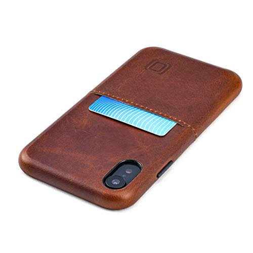 Dockem iPhone XR Funda Cartera: Cuero Genuino Funda Tarjetero Slim con Placa de Metal Integrada para Soporte Magnético: Virtuosa M1 [Marrón]