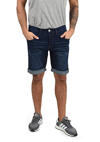 Indicode Indicode Quentin Herren Jeans Shorts Kurze Denim Hose Mit Destroyed-Optik Aus Stretch-Material Regular Fit, Größe:S, Farbe:Dark Blue (855)