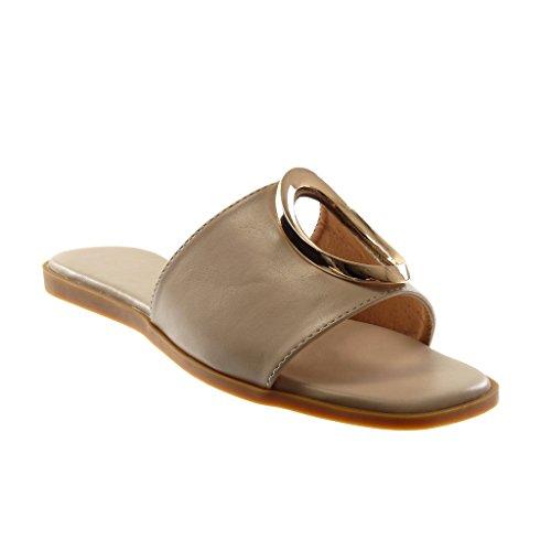 Angkorly - dames schoenen sandalen Mule - slip-on - geperforeerd - gouden platte hiel 1 cm