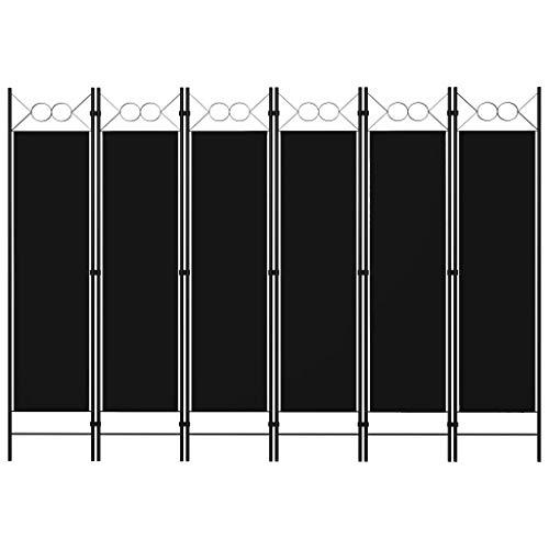 vidaXL Raumteiler Klappbar Freistehend Trennwand Paravent Umkleide Sichtschutz Spanische Wand Raumtrenner 6-TLG. Schwarz 240x180cm Eisen Stoff