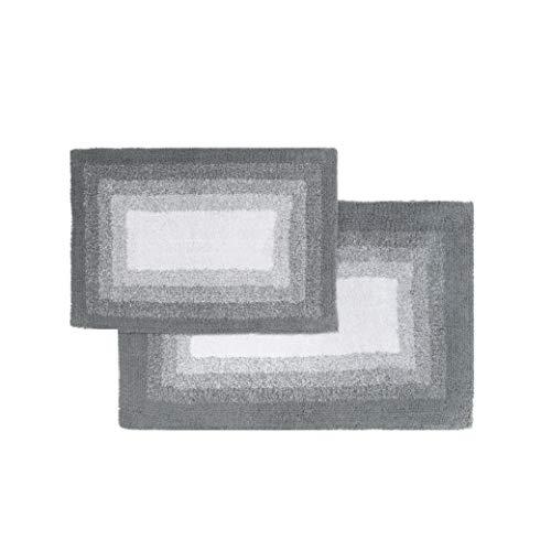 Chesapeake Merchandising Whitney Reversible 2 Piece Bath Rug Set - Hi Rise Grey, 21' x 34' & 17' x 24',