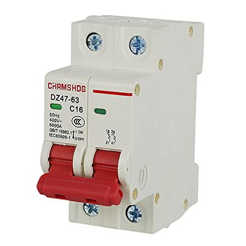 Disyuntor en Miniatura de bajo Voltaje DZ47-63 2P 230V AC Protección contra Fugas Interruptor de Aire para Sistema de Rejilla de Panel Solar Montaje en riel DIN 16A 32A 50A