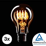 CROWN LED 3 x Edison Glühbirne E27 Fassung, 4W, Warmweiß, 230V, EL02, Antike Filament Beleuchtung im Retro Vintage Look