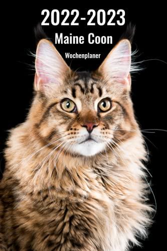 2022-2023 Maine Coon Wochenplaner: 221 Seiten, DIN A5 | 2 Jahre Terminkalender | Terminplaner | Tagebuch | Wochenkalender | Organizer für Katzenliebhaber