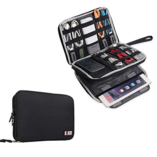 BUBM Double Layer Electronics Organizer/Travel Gadget Bag For Cables,Memory Cards,Flash Hard Drive and More,Fit For iPad Or...