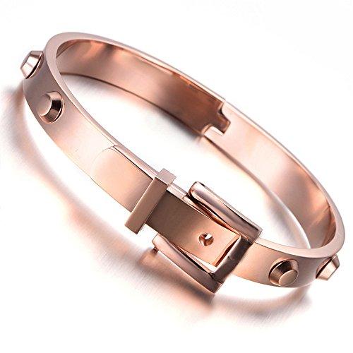 Bracelet mixte homme femme en acier inoxydable, bracelet, ceinture Style, Or Rose Kb2249