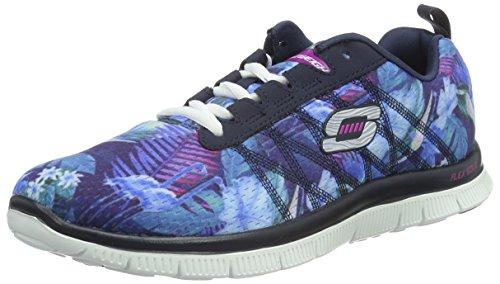 Skechers Flex AppealFloral Bloom, Damen Sneakers, Blau (NVMT), 36 EU