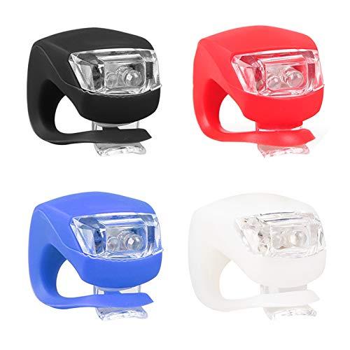 MHwan LED Silikon Fahrradlicht, Fahrrad Lichter, Wasserdichter sicherer Fahrradscheinwerfer und Rücklicht mit Silikongehäuse für Outdoor, Fahrrad, Kinderwagen, 12 Stück, 4x3x3cm