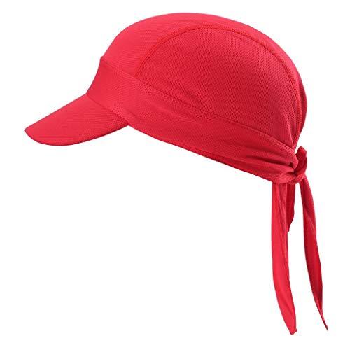 Arcweg Bandana Cap Kopftuch Mit Schirm Atmungsaktiv Pirat Kappe UV Schutz Verstellbar Bikertuch Radsport Mützen Schnelltrockned Rot
