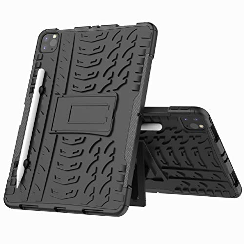 BINGRAN Apple iPad Pro 11 (2020) Case,Hybrid Cool Hyun Tire Textured Rugged Armor Shockproof Dual Layer Protective Cover With Built-in Kickstand Case for Apple iPad Pro 11 (2020)-Black