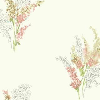 York Wallcoverings Watercolors Delphiniu Removable Wallpaper, White/Peach/Pale Blue/Yellow/Green/Beige/Tan