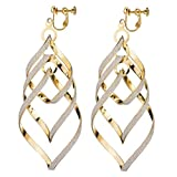 Bohemien Twist Blatt Clip On Ohrringe Spiral Linear charme Baumeln Drop Damen Prom Party Gift Goldton