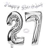 SNOWZAN Ballon d'anniversaire 27 ans en forme de chiffre 27 - Argenté - Pour fille - Avec inscription « Happy Birthday » - En forme d'hélium - 27 ans