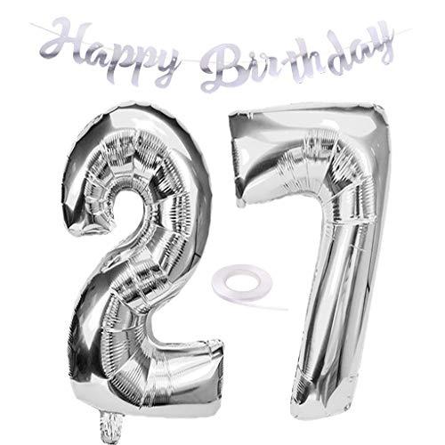 SNOWZAN Luftballon 27. Geburtstag Silber Mädchen Zahl 27 Riesen Folienballon Helium Nummer 27 Luftballon Große Zahlen 27 Jahre XXL 27. Happy Birthday Banner Girlande 32 Zoll Riese Zahl 27 für Party