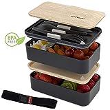 ZEEBENTO  Bento Lunch Box Bambou Design | Bento Japonais | Hermétiques | Résiste au...