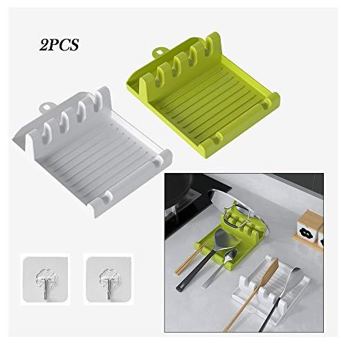 Porta Cucharas Cocina , soporte de Utensilios de cocina multifunción con ganchos adhesivos para encimera de cocina resto de cuchara, descansar cucharas - 2 piezas