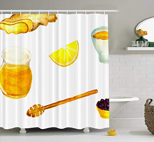 Fabric Shower Curtain,Washable Shower Curtain Colorful Shower Curtain Anti Set Ginger Lemon Honey Black Tea Painted Watercolor Currant 78X72Inch Decor Curtains for Bathroom