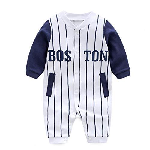 mi ji Baby-Jumpsuits Baseball-Trikot-Streifen-Muster-baumwollspielanzug-Overall Langarm Onesies Kletteranzug Für Fußlose Schlaf-and-Play 66cm Weiß