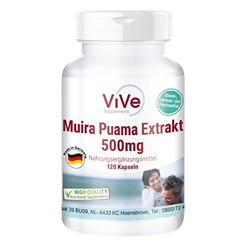 Muira Puama Kapseln - Potenzholz Extrakt 500mg - Vegan - HOCHWERTIGER 10:1 Extrakt - Hochdosiert - 120 Kapseln - Hergestellt in Deutschland
