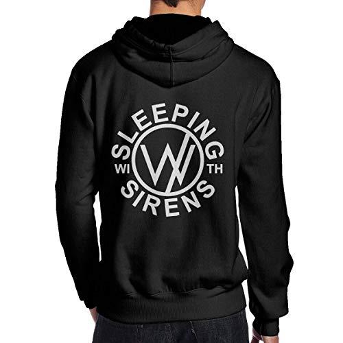 AKKUI Sudaderas Hombre Sudaderas con Capucha Evmjser Sleeping with Sirens Men's Leisure Long Sleeve Fleece Hoodie Sports Pullover Black