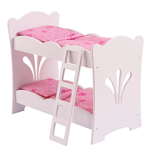 KidKraft- Lil' Doll Bunk Bed Litera de madera con ropa de cama rosa, accesorio para muebles de dormitorio para muñecas de 45 cm , Color Rosa (60130)