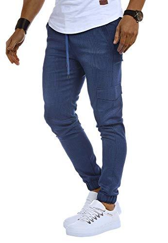 Leif Nelson Herren Jogger Chinos Cargo Stretch Jogging Männer Basic Jogg Cargohose Streifen Jogginghose Jungen Freizeithose Jeans-Hosen Sweatpants Streifen Chinohosen LN8291 Blau Large