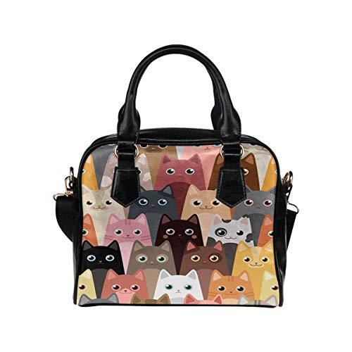 Cartoon Cat PU Leather Purse Handbags Shoulder Crossbody Bag for Women Girls