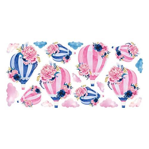 Etiqueta de la pared de la flor Globo de aire caliente Calcomanía de la pared Colorida Nube autoadhesiva Etiqueta engomada de fondo Decoración para la sala de estar Habitación para niños 28 cm x 57cm