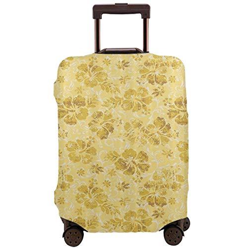 Protector de maleta de viaje Flores de hibisco hawaiano Cubierta de equipaje tropical grunge Funda protectora de maletero de viaje Protector de maleta elástica Se adapta a equipaje de 18 a 21 pulgadas