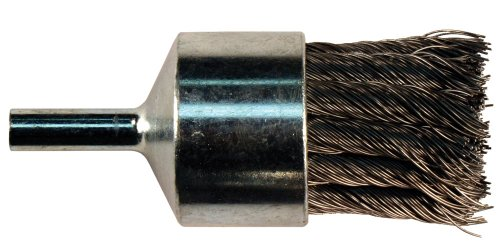 PFERD 83132 Stem Mounted Straight Cup Power Knot Wire End Brush, Round Shank, Carbon Steel Bristles, 3/4
