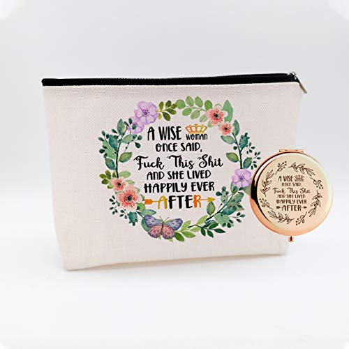 A Wise Woman Once Said,Gifts for Women,Best Friends,BFF,Her,Mom,Wife,Sister,Girl,Coworke,Birthday Christmas Retirement Gifts,Waterproof Cosmetic Bag Makeup Bag and Travel Rose Gold Mirror,Set 2 Pcs