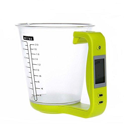 Jarra de medición de cocina, báscula electrónica, escala de taza de medición digital, dispositivo de pesaje termómetro con pantalla LCD taza de medición accesorios de cocina - verde