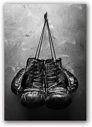 """Surfilter Impresión en lienzo Arte vintage Guantes de boxeo Póster Cuadro de pared en blanco y negro Pintura deportiva para la sala de estar Decoración del hogar 27.5& rdquo; x 39.4""""(70x100cm) S"""