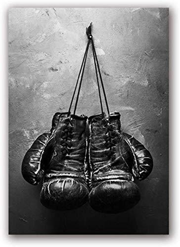 Surfilter Print auf Leinwand Vintage Art Boxhandschuhe Poster Schwarz-Weiß-Wandbild Sportgemälde für Wohnzimmer Wohnkultur 15.7& rdquo; x 23.6& rdquo; (40x60cm) No Frame