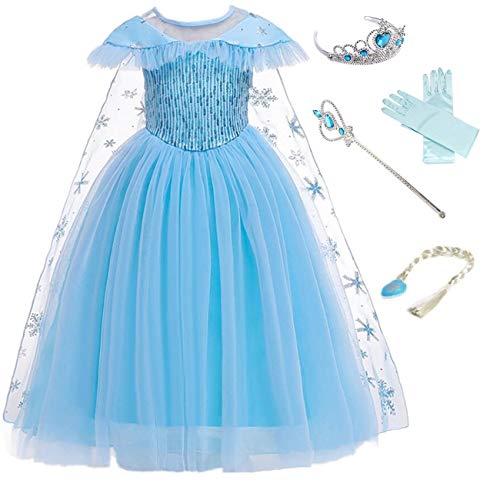 LOBTY ELSA Kostüm Prinzessin Mädchen Kleid Grün Eiskönigin Prinzessin Kostüm Kinder Erwachsene Kleid Mädchen Weihnachten Verkleidung Karneval Party Halloween Fest