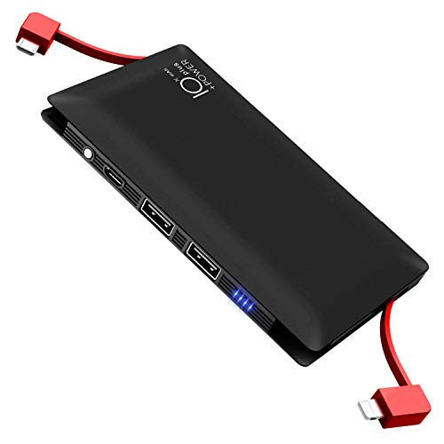 モバイルバッテリー 軽量 10000mAh ケーブル内蔵 lightning&microUSBコネクタ付 大容量 薄型 スマホ 充電器 持ち運びやすい 4台同時充電 PSE認証済 iphone ipad Android対応 (ブラック)