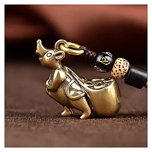 Estatua de latón Chino del Zodiaco Animal Feng Shui Decoración Adorno Escultura Estatuas Escritorio Artesanía Pequeña Estatua de Amuleto de Estilo Chino para Regalo de colección, Rata