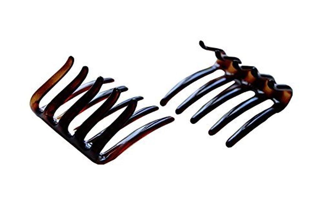 懸念白鳥価値Parcelona French Crab Interlocking Medium Celluloid Shell Hair Clip Side Comb 2 1/4 Inches [並行輸入品]