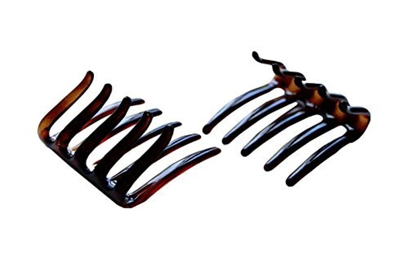 不名誉劇的隠Parcelona French Crab Interlocking Medium Celluloid Shell Hair Clip Side Comb 2 1/4 Inches [並行輸入品]