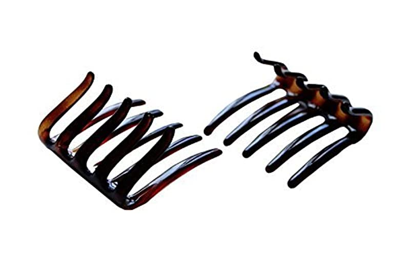クレーンピッチャー地味なParcelona French Crab Interlocking Medium Celluloid Shell Hair Clip Side Comb 2 1/4 Inches [並行輸入品]